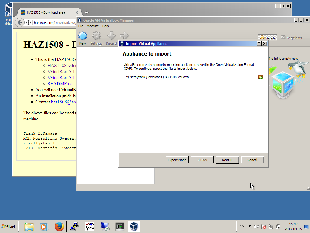 Installing HAZ1508 on a Windows 7 system